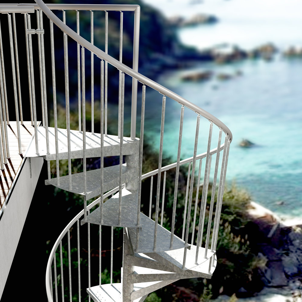 L00l stairs metal spiral staircase type firenze zink xxl for Aluminum spiral staircase prices